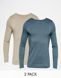 Asos Muscle Long Sleeve T Shirt With Boat Neck 2 Pack In Beige And Grey Save 19 Multi