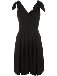 Moschino Tie Shoulder Wrap Front Dress Black