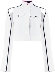Haider Ackermann Cropped Cut Out Detail Jacket White