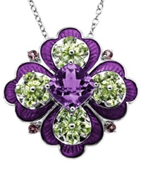 Town And Country Sterling Silver Necklace Multistone Flower Pendant