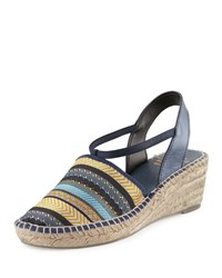 Andre Assous Helena Striped Espadrille Wedge Sandal Navy