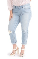 Addition Elle Love And Legend Plus Size Women's Distressed Embroidered Slim Leg Jeans Light Wash Denim