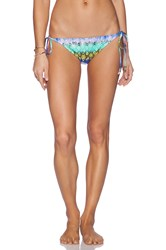 Milly Laminated Snake Print Mediterranean Bikini Bottom Blue