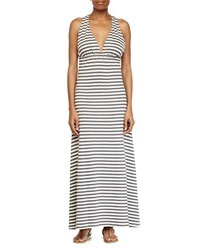 Lovers Friends Tristan Striped Jersey Halter Dress Heather Gray