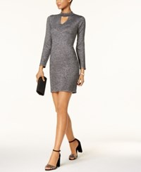 Connected Metallic Mock Neck Sweater Dress Regular And Petite Sizes Silver