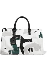 Jil Sander Leather Trimmed Printed Canvas Tote White