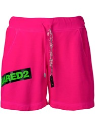 Dsquared2 Contrast Logo Shorts Pink
