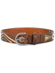 Htc Hollywood Trading Company Seabed Print Belt Women Leather 75 Brown