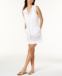 Dotti Hooded Laser Cutout Zip Front Cover Up Women's Swimsuit White