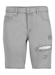 Topman Light Grey Skinny Stretch Rip Denim Shorts