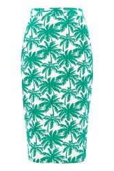 Topshop Tall Palm Print Pencil Skirt Green