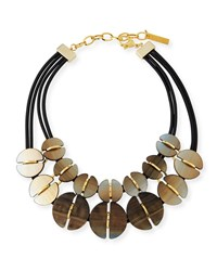 Lafayette 148 New York Coffee Bean Statement Necklace Nightingale Multi