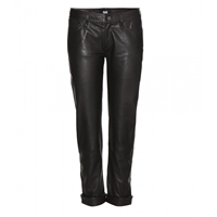 Paige Jimmy Jimmy Crop Leather Trousers Black