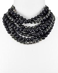 Fairchild Baldwin Sabrina Multi Strand Beaded Necklace 17 Black Hematite