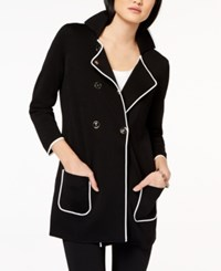 Tommy Hilfiger Colorblocked 3 4 Sleeve Pea Coat Created For Macy's Black Ivory