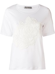 D.Exterior Floral Embroidered T Shirt White