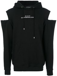 Icosae Cut Out Hoodie Cotton S Black