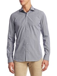 Saks Fifth Avenue Collection Cotton Button Down Shirt Navy White