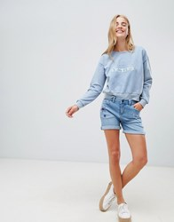 Brooklyn Supply Co. Co Denim Shorts With Turn Up And Star Embroidery Light Wash Blue
