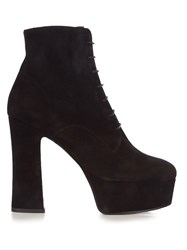 Saint Laurent Candy Lace Up Suede Platform Ankle Boots Black
