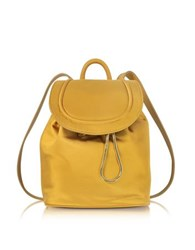 Diane Von Furstenberg Satin Backpack W Drawstring Flap Closure Honey Mustard