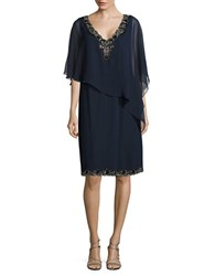 J Kara Plus Embellished Popover Top Navy Blk M