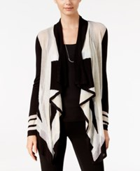 Inc International Concepts Colorblocked Waterfall Cardigan Only At Macy's Deep Black