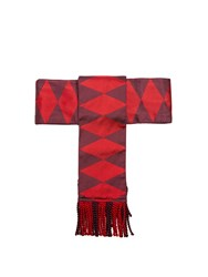Etro Fringed Geometric Jacquard Silk Belt Red