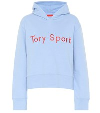 Tory Sport Embroidered Cotton Jersey Hoodie Blue