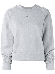 Off White Floral Embroidered Sweatshirt Grey