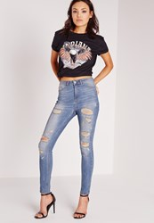 Missguided Highwaisted Ripped Skinny Jeans Aged Blue Blue