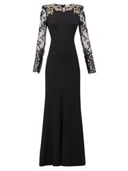 Alexander Mcqueen Lace Sleeve Crystal Embellished Crepe Gown Black