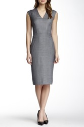 Hugo Boss Wool Blend Geo Print Dress Gray
