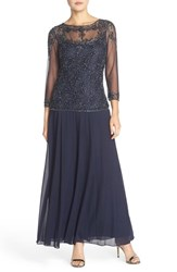 Pisarro Nights Petite Women's Beaded Mesh Mock Two Piece Gown Navy