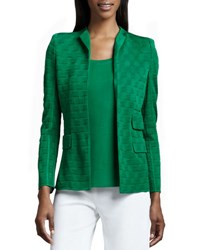 Misook Lilly Textured Jacket Putting Green