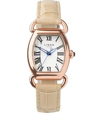 Links Of London Driver Ellipse Gold Plated Leather Watch Tan