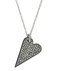 Rebecca Minkoff Rhodium Tone Crystal Heart Pendant Necklace No Color