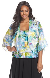Alex Evenings Print Chiffon Tiered Twinset Plus Size White Multi