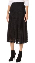 Rebecca Taylor Pleated Lace Skirt Black