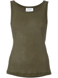 Anthony Vaccarello Low Side Tank Top Green
