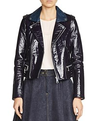 Maje Basali Patent Leather Jacket Navy