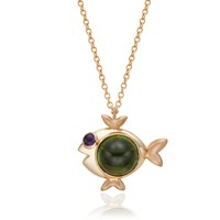 S H Koh Magical Fish Pendant Amethyst And Chrome Diopside Gold
