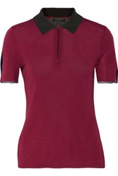 Rag And Bone Alice Two Tone Knitted Polo Shirt Plum