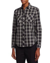 Michael Kors Plaid Patch Pocket Shirt Black Muslin
