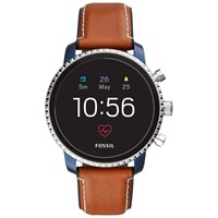 Fossil Q Ftw4016 'S Explorist Leather Strap Touch Screen Smartwatch Tan Black