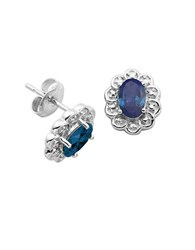 Lord And Taylor September Birthstone Sterling Silver Earrings Blue
