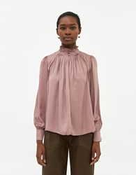 Farrow Gardner Smocked Blouse In Dusty Mauve Size Small
