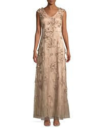 David Meister 3D Floral Embroidered Gown Pink Gold