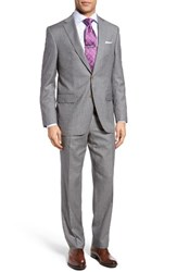David Donahue Men's Big And Tall Ryan Classic Fit Check Wool Suit Grey