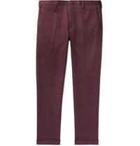 Paul Smith Slim Fit Tapered Cotton Blend Twill Trousers Burgundy